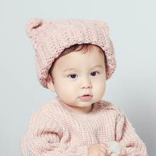 New Autumn Winter Baby Hat Bonnet Style Kid Crochet Cap Lovely Infant's Headwear Ear Protection Cap Winter Woolen Hat