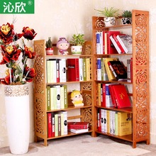 Cheap bamboo wood simple bookshelf idyllic Creative Kids antique bookcases office bookcase shelf floor(China)