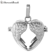 DoreenBeads Copper Wish Box Pendants Heart Silver Tone Wing Carved Hollow Can Open (Fit Bead Size: 16mm) About 36mm x 30mm, 1 PC