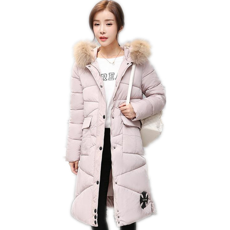 2017 New Style Winter Women Down Cotton Jacket Print Padded Hooded Large Fur Collar Ladies Long Slim Cotton Outerwear ParkaCQ072Îäåæäà è àêñåññóàðû<br><br>