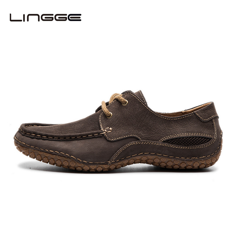 Lingge Mens Shoes Lace Up Flats Design Nature Leather Shoes For Men, Fashion Leather Men Casual Shoe #530-11<br>