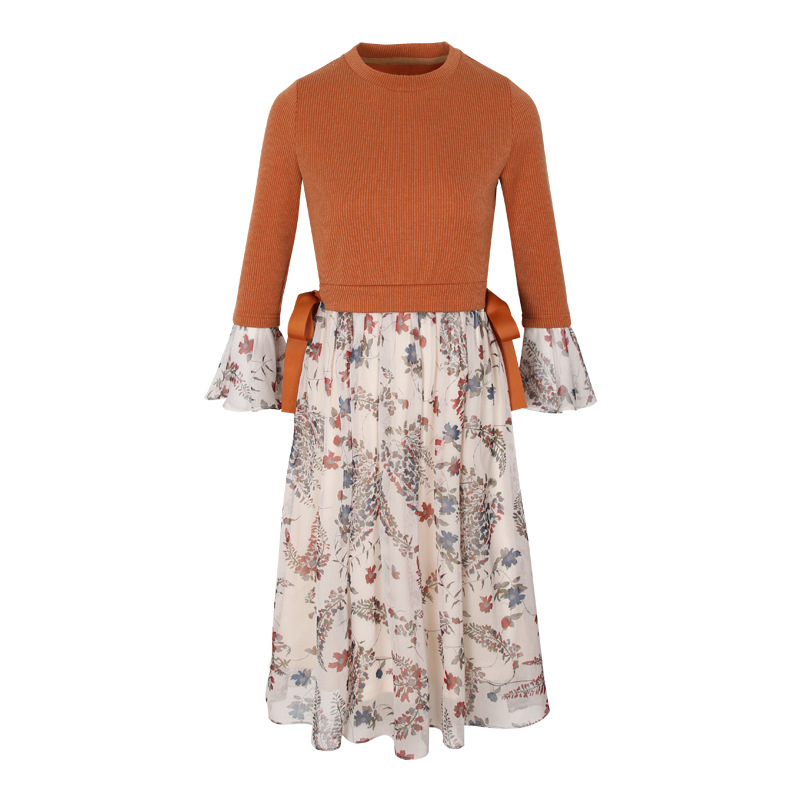 Elegant fashion printing women knitted chiffon dress spring autumn seven sleeve round collar ladies A line ladies dresses HM1086Îäåæäà è àêñåññóàðû<br><br>