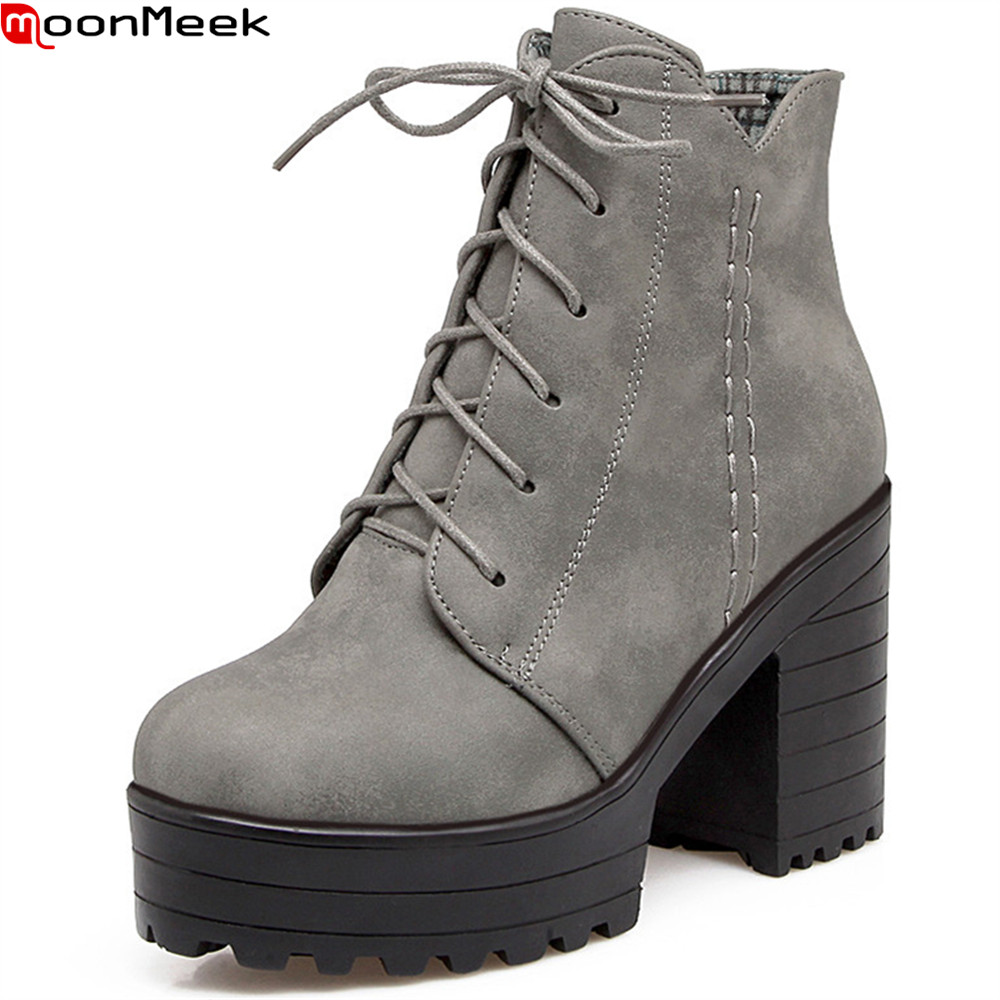 MookMeek fashion new arrive women boots round toe zipper autumn winter boots black gray apricot platform square heel ankle boots<br>