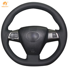 MEWANT Black Artificial Leather Car Steering Wheel Cover for Toyota Corolla 2011 2012 2013 RAV4 2011 2012