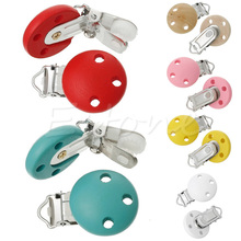 5pcs/lot Wooden Baby Children Pacifier Holder Clip Infant Cute Round Nipple Clasps For Baby Product A18709(China)