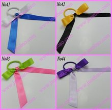 free shipping 1000pcs Pony O Hair Bow Ponytail Streamers mix color ponytail holder bows