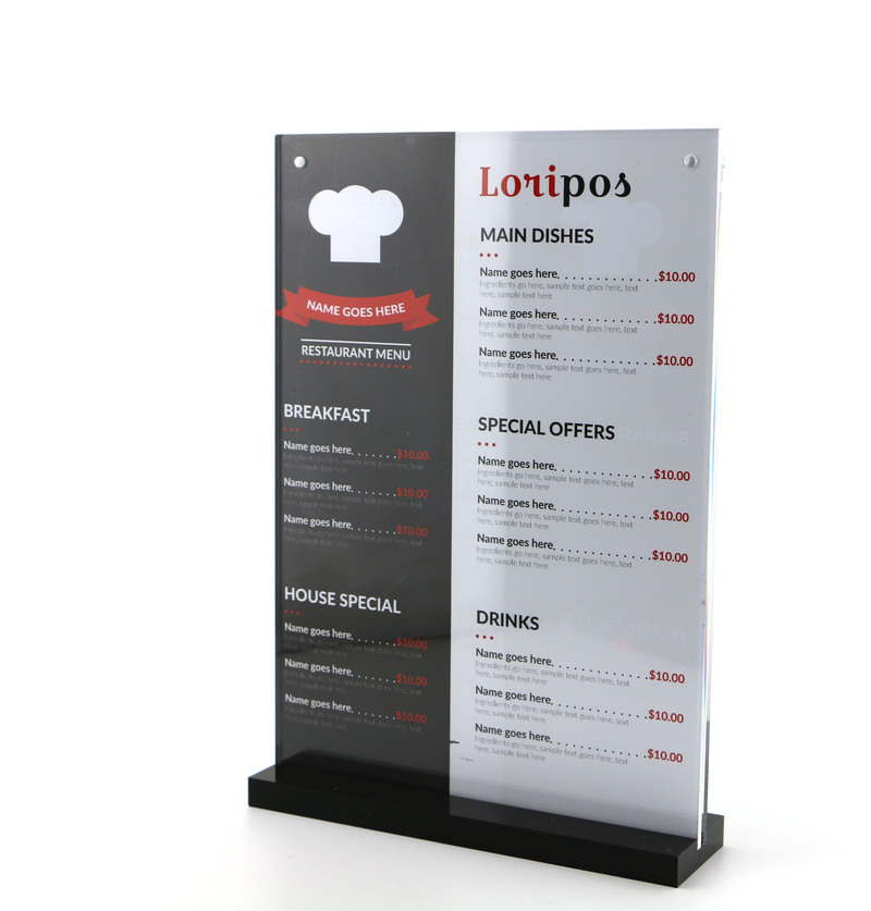 21*29.7CM A4 Black bottom T strong magnetic advertising sign card display stand Acrylic desktop menu price Label Holder Stand<br>