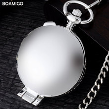 FOB men pocket watches antique mechanical watches BOAMIGO brand skeleton arbic number watches silver design clock reloj hombre