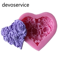 Heart Rose Silikone Flower Cake Fondant Moulds Silicone Chocolate Mold 3D Cake Decorating Tools DIY Soap Sugar Baking Molds