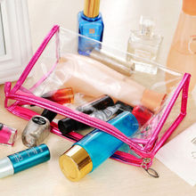 Hot Sale Women Daily Transparent Travel Cosmetic Bags Storage Makeup Case Toiletry Wash Pouch Case Household Storage Collection(China)