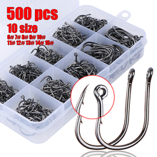 Goture 500 Pcs/box 72A High Carbon Steel Carp Fishing Hooks With Black Nickel Electroplated Fishhook ise nigeria 6#-15# 10 Sizes