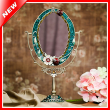 Antique Mirror Vintage Beauty Makeup Mirror Cosmetic Dressing Mirror Table Standing Makeup Mirror Photo Frame For Decoration(China)