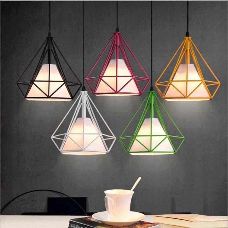 LuKLoy Pendant Lights, Modern Colorful Birdcage LED Kitchen Light Lamp Shade for Kitchen Island Luminair Restaurant Decoration<br>