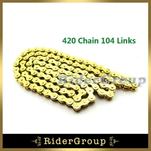 ATV 104 Links Gold 420 Chain For 110cc 125cc Lifan YX Zongshen Engine Rocket Sunl Taotao Kazuma Chinese Quad 4 Wheeler(China)