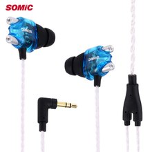 Sport Noise Cancelling Somic V4 Double Moving-coil In-ear Earphones for Mobile Phone and Computer Wired Headset Earphone