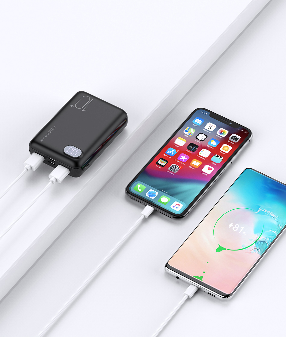 RAXFLY Mini Power Bank 10000mAh Dual USB Portable Charger Powerbank For Xiaomi Mi 9T Pro LED Display External Battery Poverbank 7