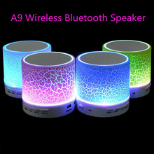 LED A9 Portable Mini Bluetooth Speakers Wireless Computer Speaker With TF USB FM Mic Blutooth Music For Car Mobile Phone iPhone