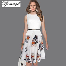 Vfemage Womens Summer Vintage Elegant Belted Polka Dot Chiffon Patchwork Tunic Work Office Party Fit and Flare A-Line Dress 608(China)