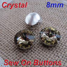 Wholesale 8mm 100pcs/lot Round Light Tea Sew On Crystals With Metal Claw Settings Fancy Stones Sewing Dress Accessories