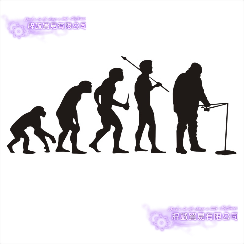Fishing Sticker Car Fish Evolution Decal Angling Hooks Tackle Shop Posters Vinyl Wall Decals Hunter Decor Mural Sticker