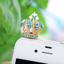 Beautiful Cross Crown Diamond Ear Dust Plug Universal 3.5mm Earphone Plugs All Cellphone Headphone Accessory Jack Dust Plug