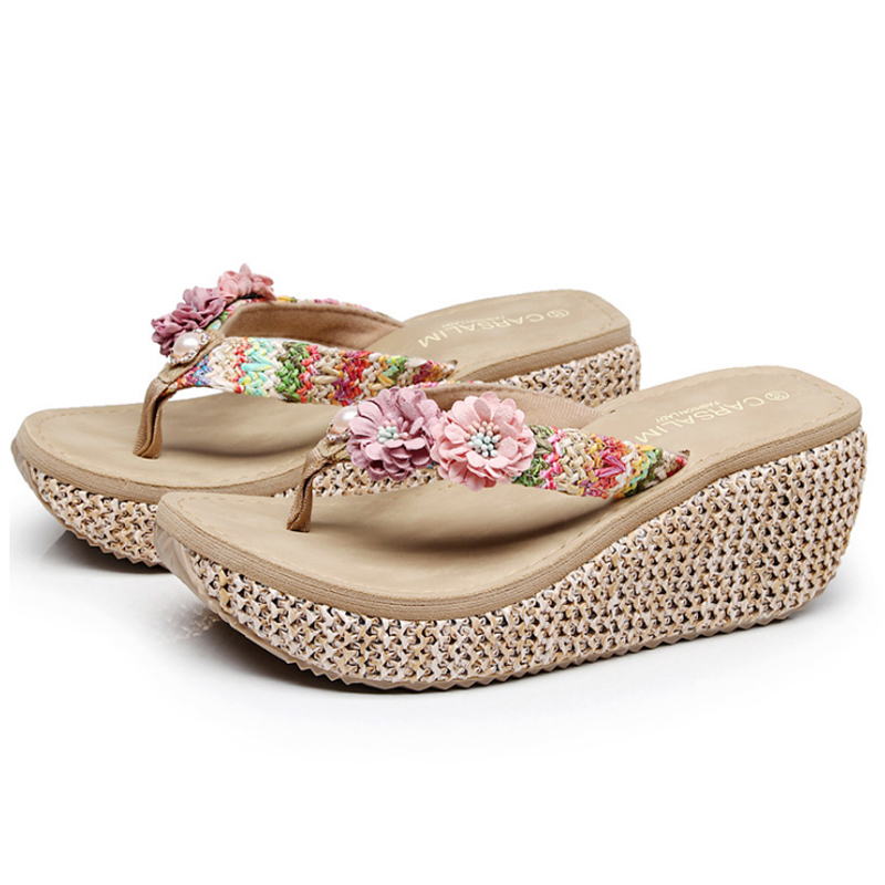 Summer Bohemia Slippers New Fashion Clip Toes Flip Flops Flower Womens Wedge Sandals Casual Beach Slippers Platform Wedges Shoes