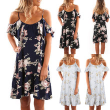 Buy Casual Women Holiday Floral Ruffles Dress Sexy Strap Shoulder Slash Neck Summer Beach Party Mini Dresses H9 for $10.59 in AliExpress store