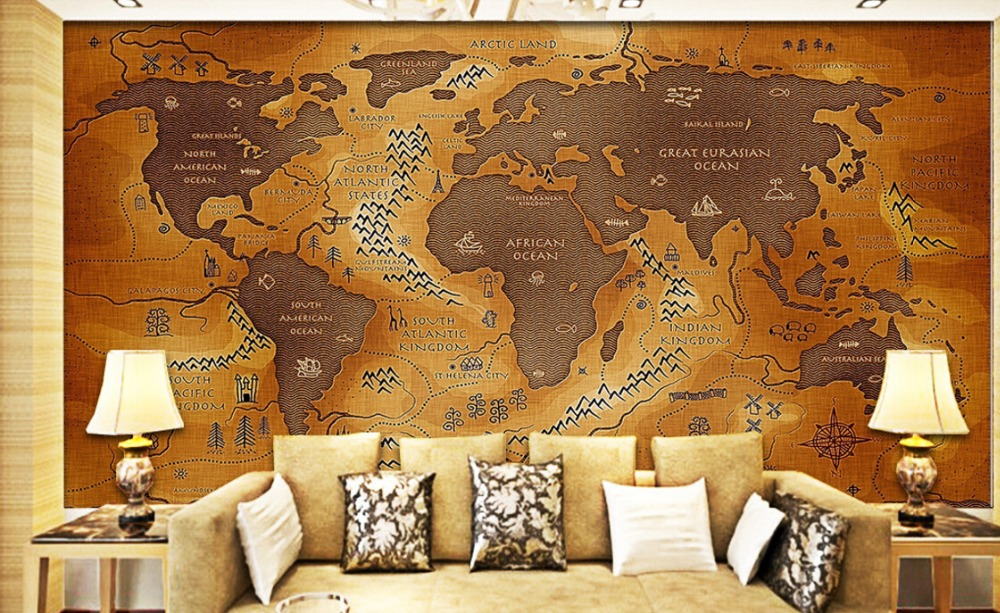 Custom vintage wallpaper,Ancient nautical maps,3D photo mural for living room sofa Cafe backdrep waterproof wallpaper <br><br>Aliexpress