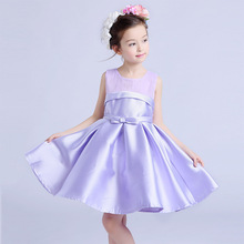 Formal Party Girls' Dresses Child Purple Flower Girl Vestidos 2017 Fashion Kids Clothes For 6 7 8 9 10 11 12 Years AKF164100