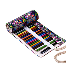 36/48/72/108 National Canvas Holes Pen Pencil Bag Case Box New Roll Up Portable School Stationery Supplies