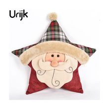 Urijk Christmas Gift Ladies Elderly Cushion Pillow Creative Pentacle Star Christmas Cushion Christmas Ornament Christmas Decorat(China)