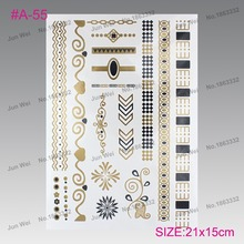 The new high-end luxury silver hot stamping tatto tatto stickers gold silver metal Henna tattoo temporary tattoos(China)