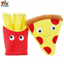 1pc Cartoon Expression Pizza French Fries Food Plush Toy Stuffed Doll Cushion Pillow Home Shop Restaurant Decoration Triver