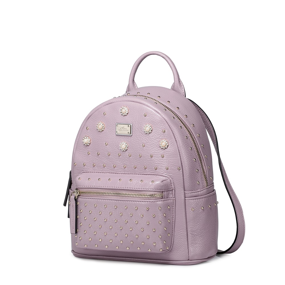 2016 New Studded Beaded Style Womens Genuine Full Grain Leather Backpack Daypack Bag<br><br>Aliexpress