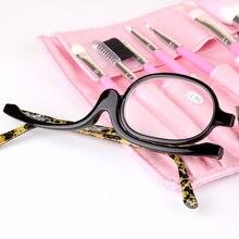 Mulheres Maquiagem Óculos de Leitura De Ampliação Da Aleta Make-up Dos  Olhos Óculos de Armação de Leitura de Vidro + 1.5 + 2.0 +. 1d2a0fff67