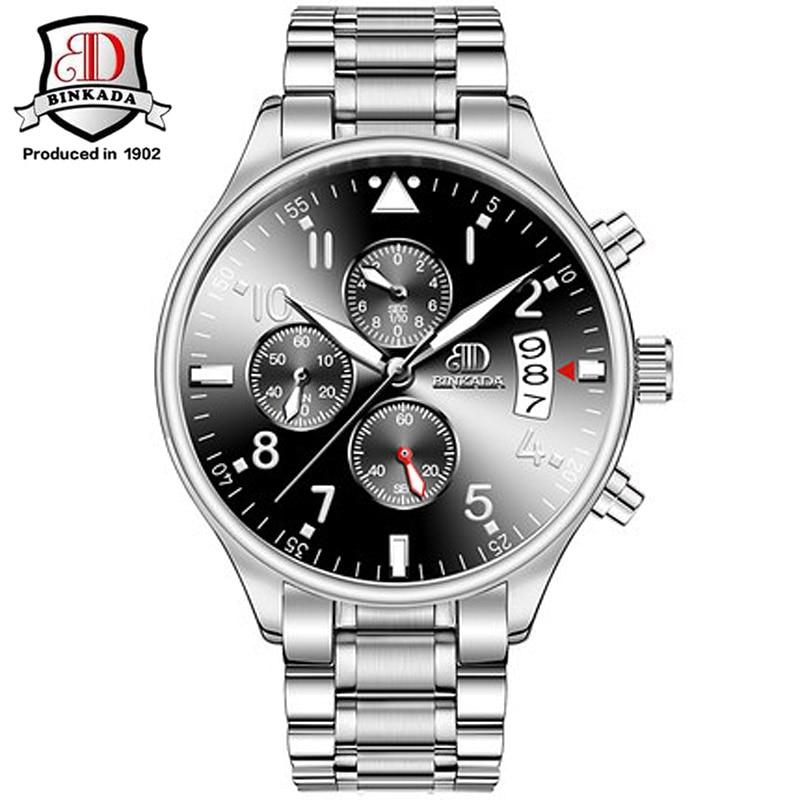 BINKADA Brand  Quartz 6 Hands Sports Watches Men Leather Steel Military Army Waterproof Diving Wristwatch Simple Mens Watch<br>