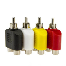 4Pcs 1-Male to 2-Female Cable Adapter Set  RCA Y Splitter AV Audio Video Plug Converter Random Color