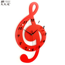 TUDA creative notes wooden electronic clock personalized cartoon mute when children's room wall clock quartz watch(China)