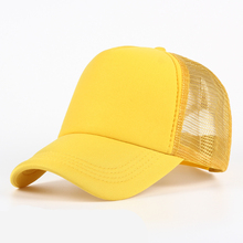 6 color Wholesale Cheap Mens Plain Trucker Hats for Spring Summer Womens Blank Mesh Snapback Caps Men Foam Net Snap Back Cap(China)