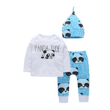 3PCS Baby Set Autumn 2017 Boys Girls Full Sleeve Shirt Pants Set Infant Outfits Cartoon Panda Newborn Suit Fashion Baby Clothing(China)