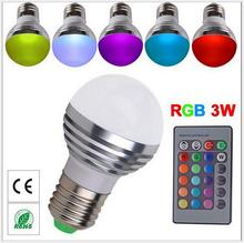 Energy saving+Remote Control 16 Colors Changing RGB LED Lamp,3W E27 RGB LED Bulb ,85-265V RGB LED light, free shipping