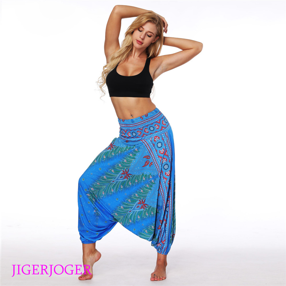 LL003 Shine blue paisley tree feather printed Thailand costume style printed bloomers harem pants wide elastic legging (2)
