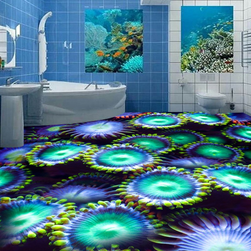 Free Shipping Marine biological algae 3D floor non-slip thickened moisture high-quality office decoration lobby mural wallpaper<br><br>Aliexpress