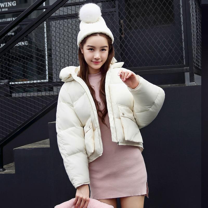 Q-IMAGE Winter Jacket Coat For Women 2017 Short Parka Hooded Warm Jacket Female Bat Sleeve Thick Outwear Solid Color Plus sizeÎäåæäà è àêñåññóàðû<br><br>