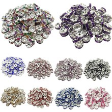 LNRRABC 50pcs 8mm Flower Siver Alloy Round Acrylic Crystal Spacer Loose Beads For Necklace Bracelet Metal Beads Charms Jewelry(China)
