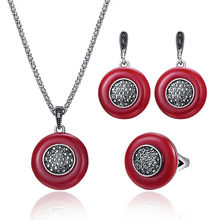 Vintage Red Jewelry Sets For Women Antique Silver Color Full Black  Rhinestone Geometric Pendant Necklace Earrings Ring Set 2f2dfc7b8888