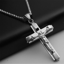 Big and Heavy Chunky Chain Silver Stainless Steel Jewelry Jesus Crucifix New Men's Cross Pendant Necklace For Men(China)
