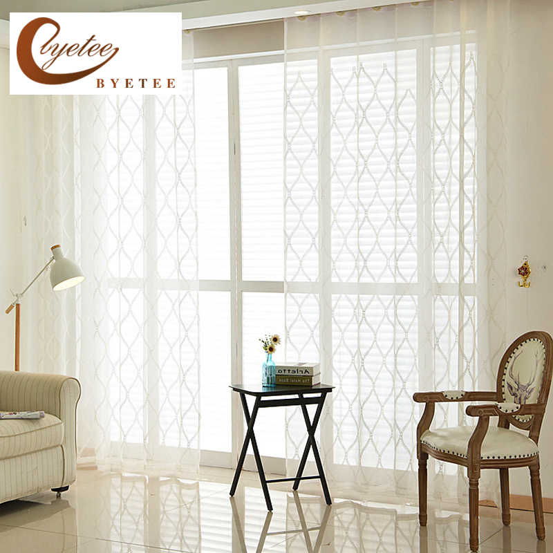 [byetee] White Embroidered Gauze Window Curtain Embroidery Tulle Kitchen Door Voile Curtains For Living Room Bedroom Drapes