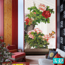 Coffee Curtain Colorful Peony Chinese Style Art Pattern Traditional Wall Hanging Door Curtain for Living Room Window