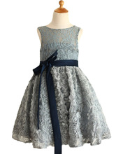 Fashion Silk Floral Kids Baptism Dress with Navy Blue Bow Sash Wedding Gray Lace Rosette Keyhole Flower Girl Dress 2-12 Year Old